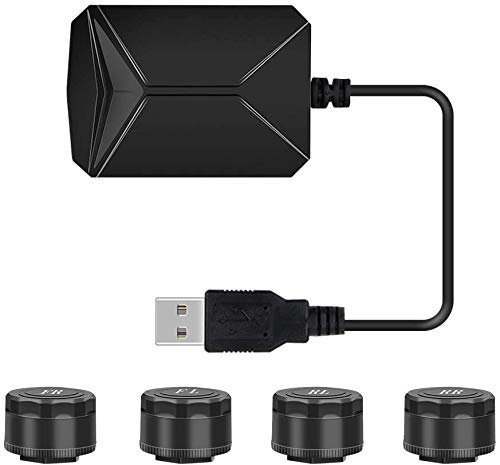 Estéreo para automóvil, TPMS para automóvil para reproductor de navegación Android Sistema de monitoreo de presión de llantas USB, Sistema de monitoreo de alarma de presión de llantas TPMS Alarma de