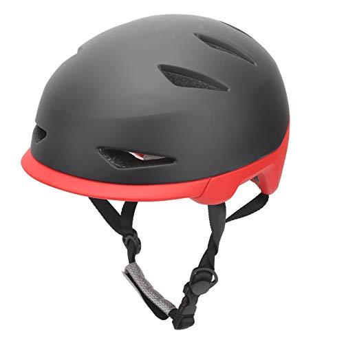 Denkerm Casco de Bicicleta, Casco de monopatín ampliamente Utilizado Casco de Ciclismo Casco de Scooter Transpirable Moldeado de una Pieza para(Black Red, L)