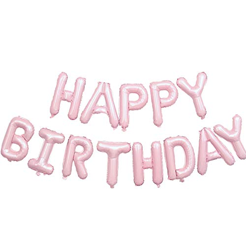 Happy Birthday Balloon, Phrase Aluminum Foil Balloons Candy-pink 3D Bright Letters Birthday Balloon Self-Inflating Balloons Decoration Party Large Balloons for Boys and Girls to Celebrate Birthday