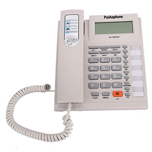 Vipxyc Telefono con Filo, Telefono Fisso con Pulsanti Grandi, Set di Interni Vivavoce con Display LCD, Data/Ora di Registrazione della Chiamata in Tempo Reale(Bianca)