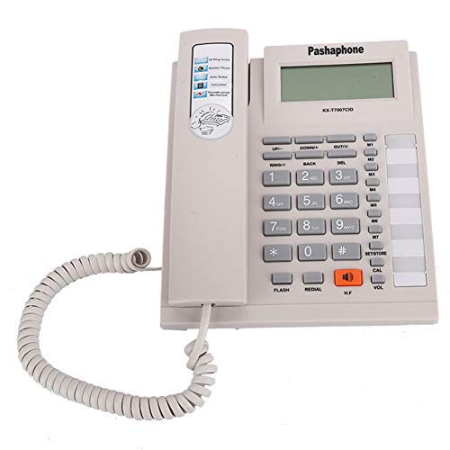 PUSOKEI Teléfono Fijo de Negocios, Pantalla LCD Teléfono con Cable - Función de cancelación de Ruido Botones Grandes Teléfono con Cable para el hogar con Altavoz para Personas Mayores(Blanco)