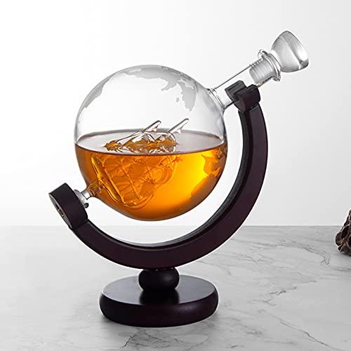 QKFON Juego de 2 vasos de whisky con 2 copas de whisky grabadas de 850 ml, con tapón hermético en el interior de cristal antiguo para licor, whisky, bourbon vodka
