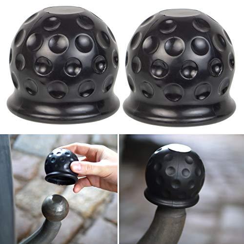 Anhängerkupplung Abdeckung, universal für Kugelkopfkupplungen bis Ø 50 mm, 2 Pack, aus Gummi, in Golfball-Form, Witterungsbeständig und Waschanlagenfest, Anhängerkupplung Schutzkappe, Kugelschutzkappe