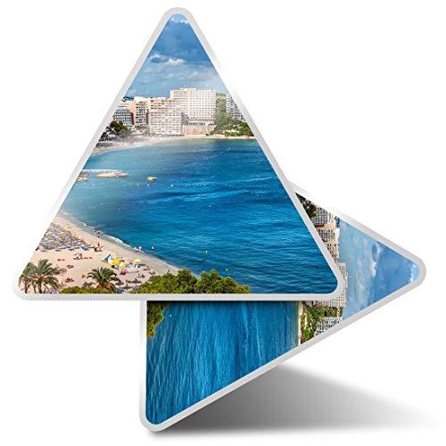 Magaluf Beach Bay Calvia - Pegatinas de triángulo (2 unidades, 10 cm), diseño de Calvia