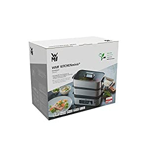 WMF KÜCHENminis Mini Dampfgarer 4,3l, Dampfkocher mit Memory-Funktion, Warmhaltefunktion, Restlaufzeitanzeige, 2 individuell regulierbare Garbehälter