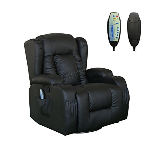 WestWood Bonded Leather Massage Cinema Recliner Sofa Chair Armchair Swivel Rocking With Heating Function Cup Holder MLS-02 Black