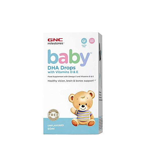 GNC Milestones® Baby ™ DHA Drops con Vitaminas D y E - Sin sabor, 30 ml, Apoya una visión saludable, cerebro y huesos
