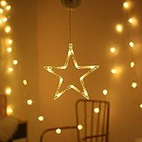 Badasa窓吸盤ホリデーランプLEDクリスマスツリー鹿ベルスターサンタハンギングガーランドライトウォール装飾