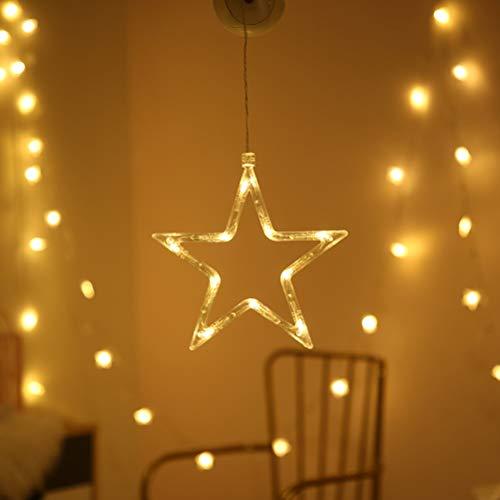 BSMEAN luz de cadena led lámpara de ventosa de ventana cortina led...