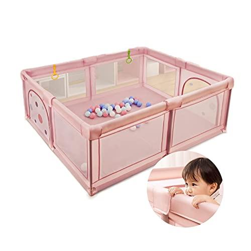 HJWMM Parque Infantil, Paño de Oxford Portátil Valla de Juegos for Niños Valla de Seguridad for Bebés, Regalo de cumpleaños (Color : Pink, Size : 180x200cm)