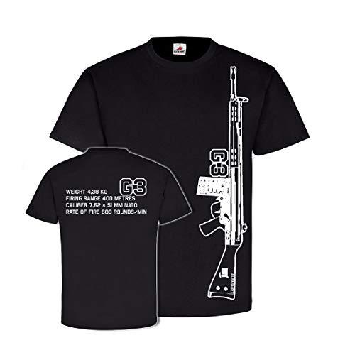 G3 Gewehr 3 NATO Waffe COD Assault Rifle Daten Bundeswehr - T Shirt #26644, Farbe:Schwarz, Größe:Herren XL