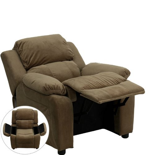 Deluxe Heavily Padded Contemporary Brown Microfiber Kids Recliner with Storage Arms