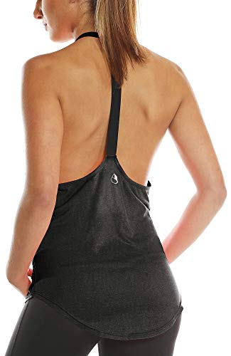 icyzone Damen Zumba Shirt Sport Top Lang - Rückenfrei Workout Gym Tanktop Yoga Oberteile (M, Black)