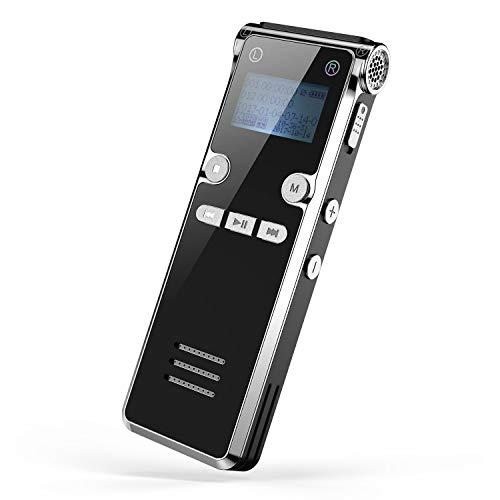 Digitales Diktiergerät, Dr.meter 8GB Digitaler Voice Recorder, Aufnahmedistanz und MP3-Recorder, 30mAudio Aufnahmegerät mit Spracherkennung für Interviews Meetings, USB, Wiederaufladbar 1 PACK