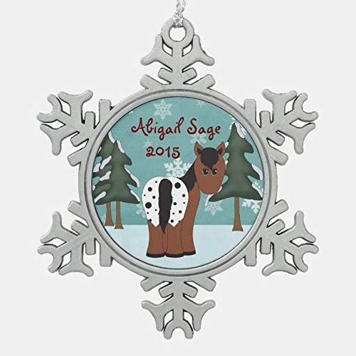 onepicebest Hexagon Metal Christmas Ornament, Personalized Cute Appaloosa Horse Winter Holiday Snowflake Pewter Christmas Ornament, Christmas Xmas Tree Decorations, 3 Inch