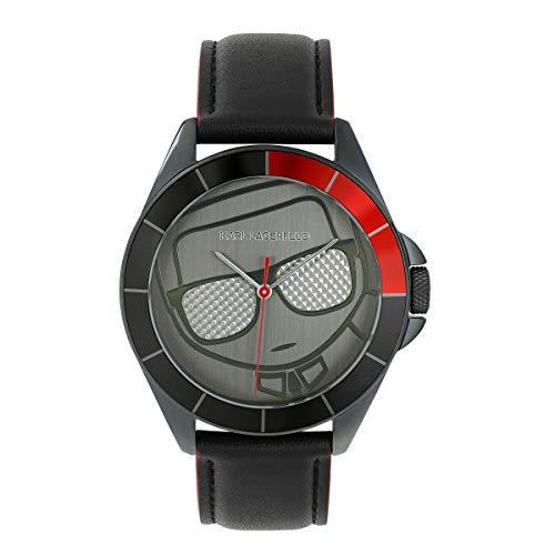 KARL LAGERFELD Men\'s GM Ikonik Silhouette Black Leather Strap Herrenuhr, 42mm, Quarz - 5552778