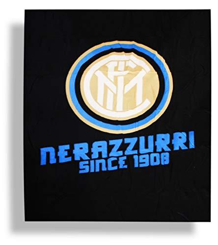 hermet 52035921 CALDO PLAID ARREDO MICRO PILE PELUCHES Juventus Inter Milan Roma COPERTA ORIGINALE cm 120 x 150 (Inter), Taglia unica