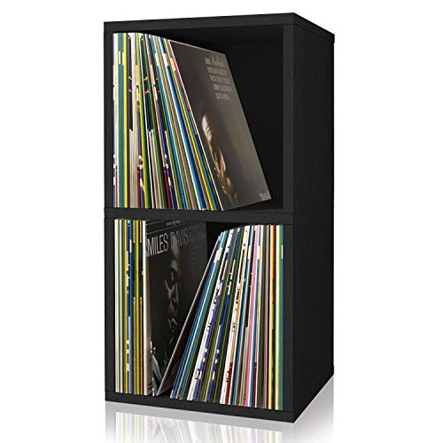 Way Basics 2-Shelf Cube Book Case, Vinyl LP Record Album Storage (Tool-Free Assembly and Uniquely Crafted from Sustainable Non Toxic zBoard Paperboard), Black