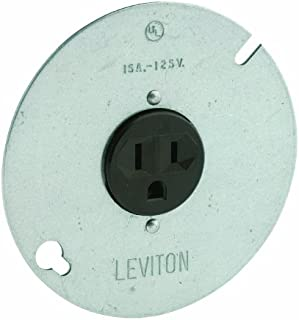Leviton 5059 15-Amp, 125 Volt, 3-Wire Round Type Single Receptacle On 4-Inch Cover, Zinc Plated Steel