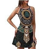 Facbalaign Vestido de verano para mujer, diseño vikingo, martillo de muerte, sin mangas, cuello redondo, estampado, Blanco, L