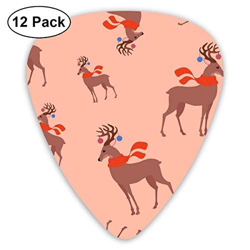 Gitaar Pick Milu Herten In Het Nieuwe Jaar 12 Stuk Gitaar Paddle Set Gemaakt Van Milieubescherming ABS Materiaal, Geschikt voor Gitaren, Quads, Etc