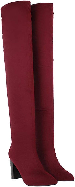 ZHRUI Damenstiefel Stiefeletten Damen Über Kniehoher Stiefel Lace up Stretch Schlanke Oberschenkel Hohe Ferse Lange Oberschenkel Casual Stiefel (Farbe   Rot, Größe   42 EU)    Wunderbar