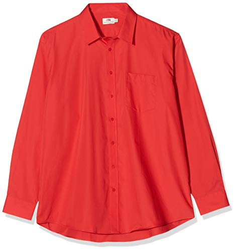Fruit of the Loom Herren Long Sleeve Poplin Shirt Freizeithemd, Rot (Red), Large