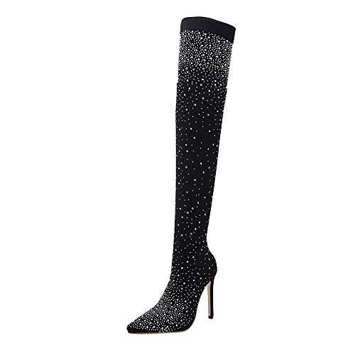 iHAZA Drill Elastic Boots Women Over-The-Knee Boots Pointed High Heels Stockings Shoes