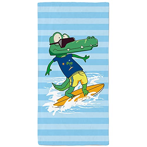 onetoze Microfaser Strandtuch Krokodil auf Skateboard Strandtuch mit hoher Wasseraufnahmen Badetuch Handtuch Perfekt für Schwimmen Pool Strandurlaub Camping Picknick 75x150cm, Blauer Streifen