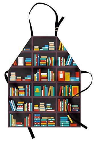 ABAKUHAUS Boekenplank Keukenschort, Cartoon Kleurrijke Boeken, Unisex Keukenschort met Verstelbare Nekband voor Koken en Tuinieren, Veelkleurig