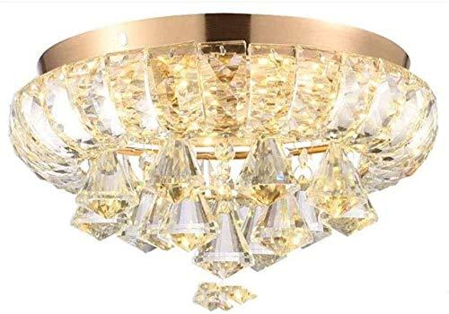 Candelabro LED Lámpara de techo de cristal regulable en oro Diseño redondo para dormitorio Baño Mesa de comedor Cocina