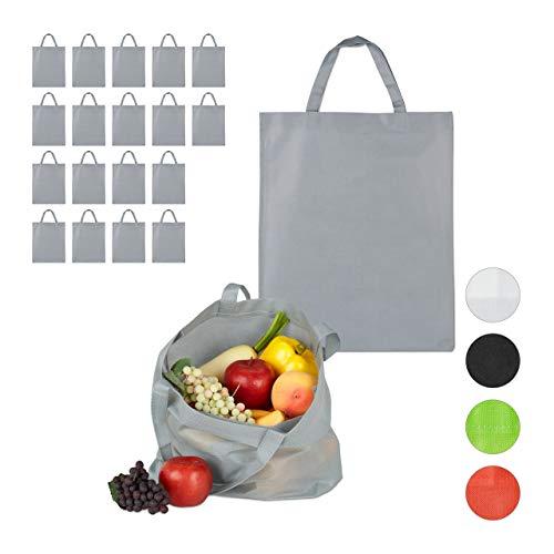 Relaxdays 20 x Stoffbeutel, unbedruckt, zum Einkaufen, Kurze Henkel, große Einkaufsbeutel H x B: 49,5 x 40 cm, Stofftasche, grau