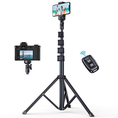 """Andobil 61"""" Phone Tripod Stand (with Bluetooth Remote), Extendable Selfie Stick Tripod with Flexible Phone Holder Compatible iPhone 12 Pro Max/11/X/8, Samsung S21/S20, Camera, Lightweight & Heavy Duty"""