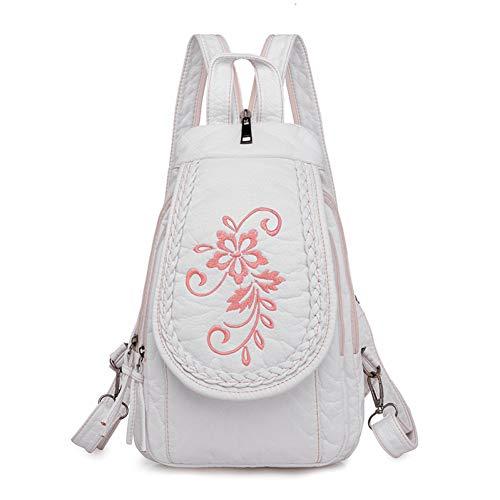 KSPIUTTRE Ladies backpack 3-in-1 Women Flowers Leather Backpacks Travel Bagpack Ladies Female Leather Backpack Embroidery Floral Ladies Fashion backpack