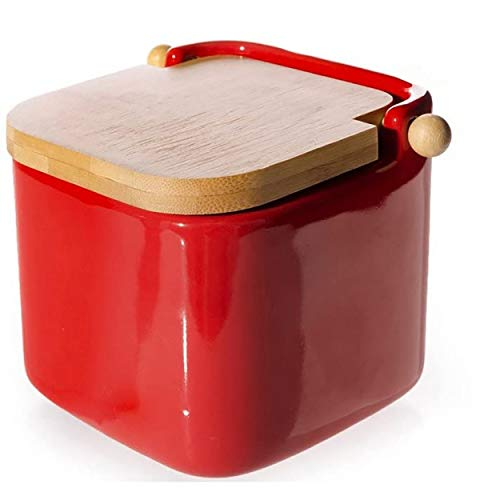 Home Line Salero Rojo cerámica con Tapa de bambú, 12x12x11 cm