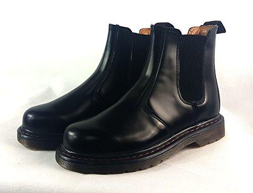 Starex Para hombre Pull On elástico Chelsea italiano estilo elegante y Casual desierto botas de tobillo, negro, UK7/EUR 41