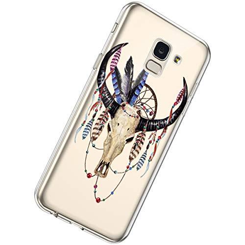 Herbests Kompatibel mit Samsung Galaxy J6 2018 Hülle Transparent Durchsichtig Silikon Schutzhülle Blumen Muster Klar Weich TPU Handytasche Clear Case Stoßfest Bumper Etui,Kuh