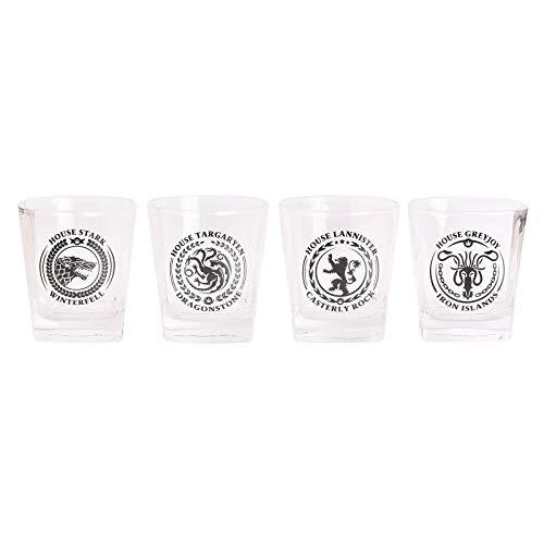Elbenwald Game of Thrones Gläser Set mit Häuserwappen Motiv Stark Targaryen Lannister Greyjoy 4 teilig in Geschenkbox Tumbler 220 ml