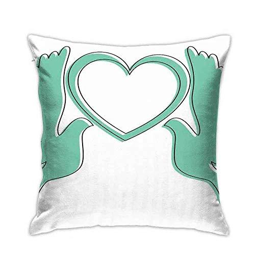 18in*18in Fiesta de compromiso Palomas voladoras con figura de corazón en blanco Diseño simétrico romántico Seafoam y sofá cama blanco decoración del coche para el hogar funda de almohada cojín