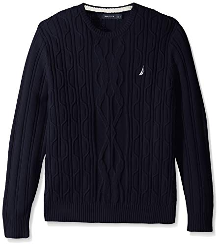 Nautica Cable Knit Long Sleeve Cotton Crew Neck Sweater (Navy, X-Small)
