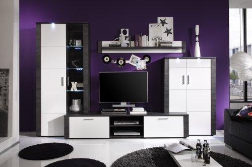 trendteam XP98710 Wohnwand Anbauwand Wohnzimmerschrank Xpress Esche grau Nachbildung und Fronten in weiß Nachbildung, 308 x 197 x 51 cm - 2