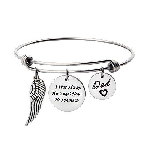 ENSIANTH I was Always His Angel Now He's Mine Dad Expendable Pendant Bangle with Angel Wing in Memory of Loved One Daddy (Angle Bangle)