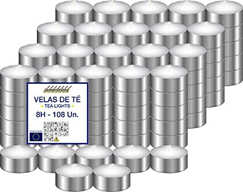 Velas de Té XXL Sin Perfume, 108 Unidades Larga Combustión +8h. Velas TeaLight Blancas, Velas Para...