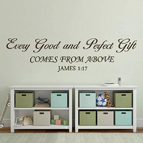 Autocollant mural humoristique avec citation « Every Good and Perfect Gift » pour chambre de bébé - James 1:17 - Inscription Bible - Noir - Taille L