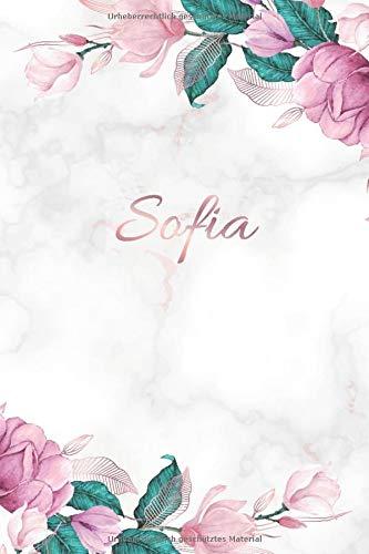 Sofia: Personalisiertes Notizbuch im Blumen Design Tagebuch Journal Dankebuch Notizheft. Individuelles Geschenk für Frauen & Mädchen