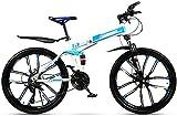 Ligero, Adulto bicicleta de montaña, doble suspensión plegable Ciudad de bicicletas, bicis de doble freno de disco de la nieve, de 24 pulgadas de aleación de magnesio Diez cuchillos Ruedas Liquidación