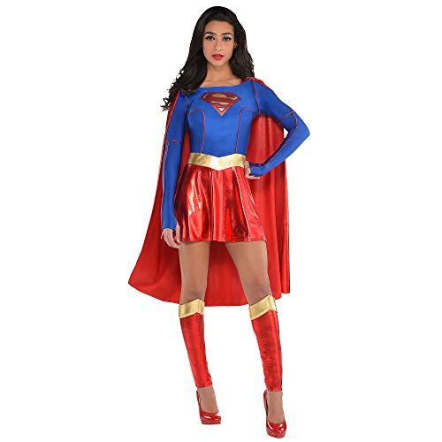 Costumes USA Superman Supergirl Costume for Adults, Size Small, Includes a Dress with an Attached Cape and Leg Warmers