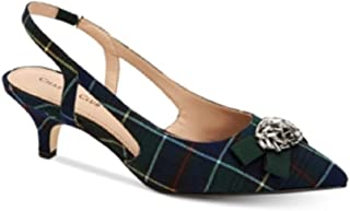 Charter Club Lollee Bow Slingback Pumps Navy Plaid 9.5M