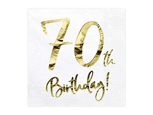 jakopabra Geburtstagsservietten mit Gold-Druck (Zahl 70)