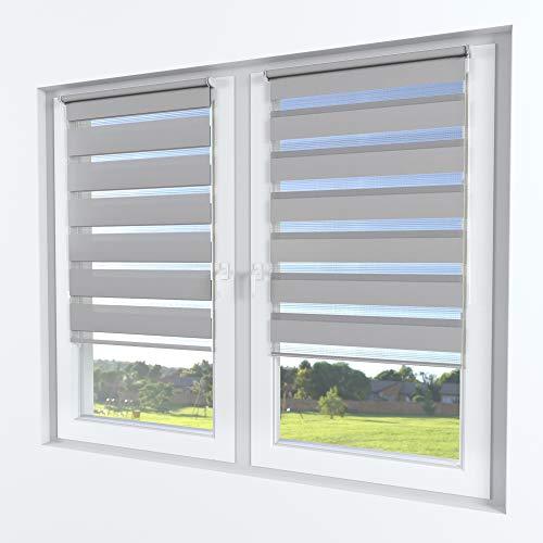 Rollmayer Doppelrollo Klemmfix ohne Bohren Klemmrollo Fensterrollo Duo Rollo Sonnenschutzrollo Zebrarollo Seitenzugrollo für Fenster und Tür (Grau - 125 x 150 cm - BxH)